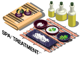 illustration of info graphic spa treatment concept in isometric graphic
