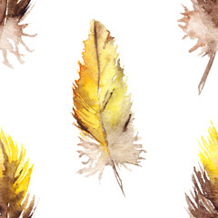 Watercolor yellow brown parrot feather isolated pattern background