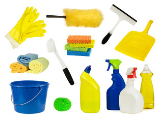 Collection of household cleaning supplies, isolated on white