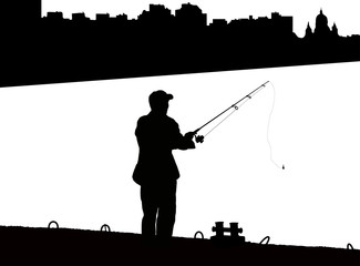 Silhouette of fisherman with fishing rod on pier fishing on background of night city black and white