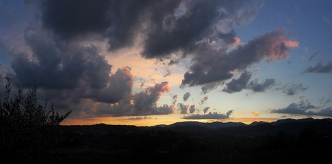 sunset above the mountains