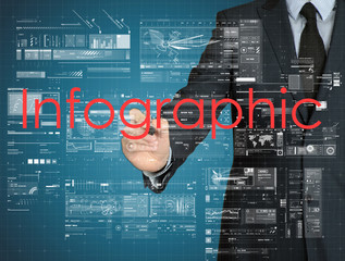 businessman writing Infographic with some modern graphs on virtu