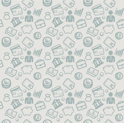 vector seamless pattern with business and money icons