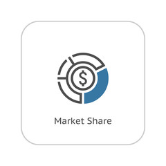 Market Share Icon. Business Concept. Flat Design.