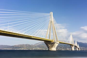 Suspension bridge crossing Corinth Gulf strait, Greece. Is the w