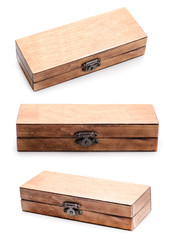 set of wooden box on white background
