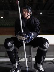 hockey players on bench