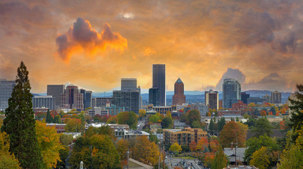 Portland Oregon Cityscape in Fall Season