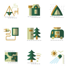 Flat simple green vector icons for camping.