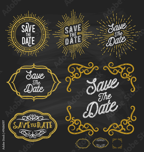 Save the date frame border chalkboard style. Vintage sunburst and ...