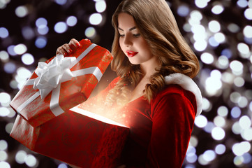 beautiful, attractive, young girl in a red suit Snow Maiden, smi