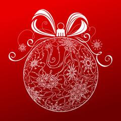 Abstract Christmas ball of snowflakes.