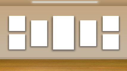 blank frames on wall and wooden floor - interior gallery