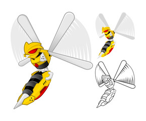 Robot Wasp Cartoon Character Include Flat Design and Outlined Version Vector Illustration