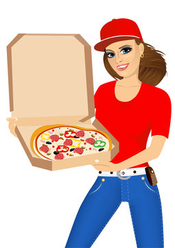 woman courier holding a hot pizza