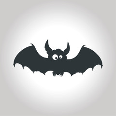 bat drawn vector illustration on gray background for Halloween
