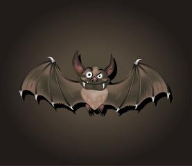Full color bat drawn vector illustration on black background for
