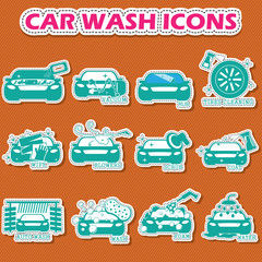 car wash icons in sticker style