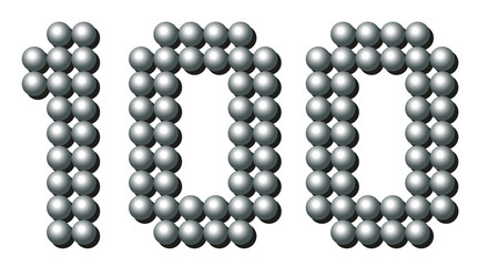 HUNDRED - composed of exactly counted one hundred iron balls - isolated three-dimensional vector illustration on white background.