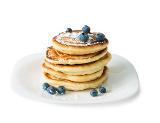 traditional russian pancakes with blueberry