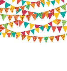 Multicolored Bright Buntings Garlands Flags with Ornament Isolat
