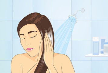 woman applying hair conditioner to hair treatment in bathroom