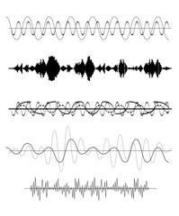 Set of Sound Wave. Vector Illustration.