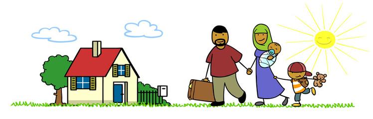 Muslimische Familie bei Heimkehr nach Urlaub