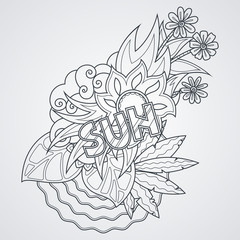 Vector label with sea, sun, leaves and flowers. Sunny, summer
