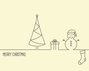 Linear style design for winter holidays with Christmas tree, gift box, snowman and stocking