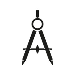 The divider icon. Surveyor and geometry, engineer, architect, school symbol. Flat