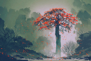 Spoed Foto op Canvas Khaki lonely red autumn tree with falling leaves in winter forest,landscape painting