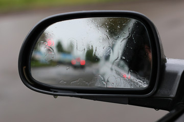side mirror in the rain