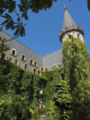 Medieval castle with tower, garden and