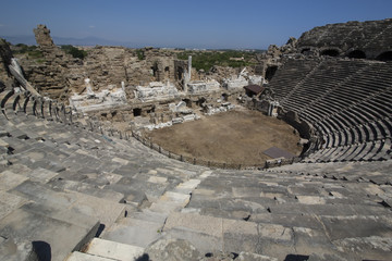Ruins of the ancient amphitheater in Side, Turkey
