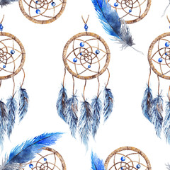 Watercolor ethnic tribal hand made feather dream catcher seamless pattern texture background