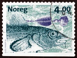 Postage stamp Norway 1999 Atlantic Cod, Fish