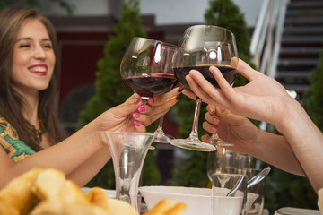 People toasting with wine at a restaurant.