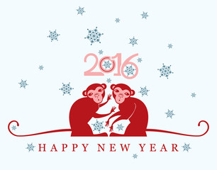 New year Card. 2016. Two red monkey under the snow.