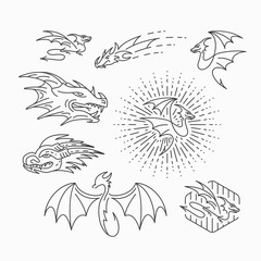 Line vector dragon objects