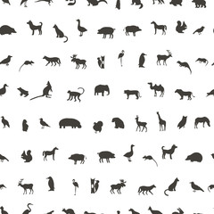 Seamless pattern with Black Animals and Birds Silhouettes