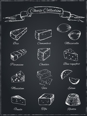 Collection of cheese on a dark background