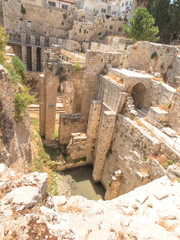 Ancient Pool of Bethesda ruins. Old City of Jerusalem