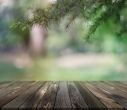 Wooden platform with park as a background