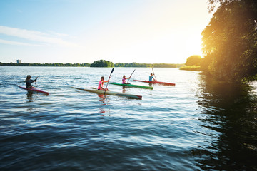 Team of sports kayaks