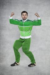 bodybuilder showing his body