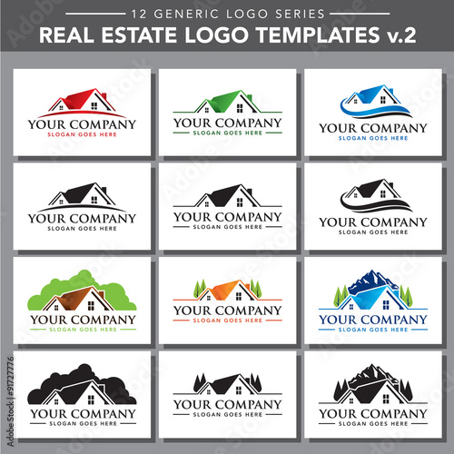 12 generic logo series real estate logo template v2 stock image