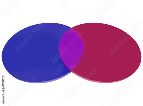 Red Blue Venn Diagram Two Circles Overlapping Stock Photo And