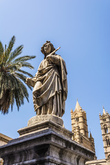 Statue near the cathedral on Palermo, Sicily, Italy