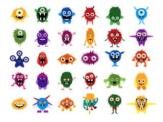 Cute monsters. Big set of cartoon monsters